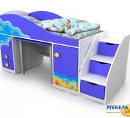 Комплект: Кровать-горка BR-Od-40-1 Ocean (Океан) + Горка Океан + матрас BABY-SOFT + стул Дисней (в подарок). АКЦИЯ!
