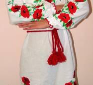 Вышиванка- платье женское Маки