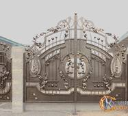 Ворота кованые с калиткой №76