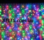 Мультикольорова гірлянда Бахрома 300 LED (штора 3 метри, висить на 0,65 м)