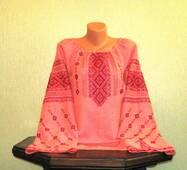 Жіноча вишиванка ручної роботи на льоні коралового кольору