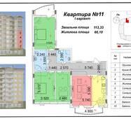 """Четырёхкомнатная квартира 11, 1 варіант, (113 кв. м) в ЖК """"Сакура"""", секция №3, купить в Ужгороде"""