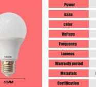 Светодиодная лампа  LED E27 9w 270 градусов!