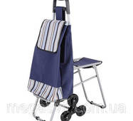 Господарська сумка на колесах з доладним стільцем