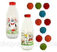 Скляна пляшка для молока з декором, пластиковою кришкою, 1 л, TM Miradan