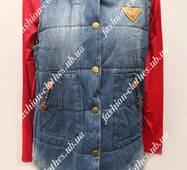 Женская джинсовая теплая жилетка
