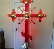 Крест накупольный красный с подсветкой, купить