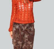 Спідниця з еластичного коричневого велюру з вишивкою