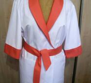 Медична куртка-халат з шалевим коміром