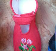 Дитячі тапочки оптом 18-20 червоних тюльпан