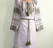 Спідниця жіноча на сірому льоні з вишивкою оливкового кольору