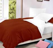 Двухстороннее постельное белье комплект Винный + Белый