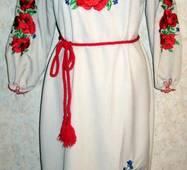 Вышиванка- платье женское Маки и васильки
