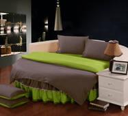 Круглая кровать. Комплект постельного белья с цельной простынью - подзором на Круглую кровать Порох + Салатовый