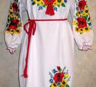 Вышиванка-платье женское Маки и подсолнухи