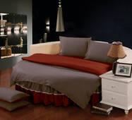 Комплект постільної білизни з цільним простирадлом-підзором на Кругле ліжко  Порох + Винний