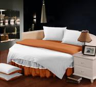Комплект постельного белья с цельной простынью - подзором на Круглую кровать Белый + Медовый