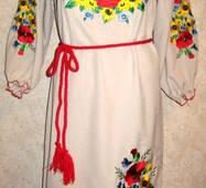 Вышиванка- платье женское Маки и подсолнухи