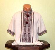 Мужская рубашка-вышиванка на сером полотне, ручная работа
