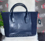 Стильна синя жіноча ШКІРЯНА сумка.