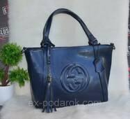 Синя жіноча ШКІРЯНА сумка Гучи.