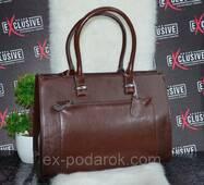 Елітна коричнева ШКІРЯНА сумка з кишенею.