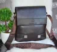 Стильна коричнева сумка для чоловіків.
