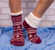 Бордовые домашние полушерстяные тапочки-носки с оленями.