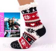 Женские теплые домашние полушерстяные тапочки-носки с антискользящей поверхностью.