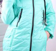 Детская демисезонная куртка с наушниками оптом 134-164 мята