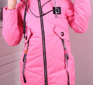 Детская демисезонная куртка с наушниками оптом 134-164 розовая