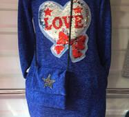 Подростковое платье с сумкой оптом 8-11 лет электрик