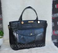 Красивая женская черная сумка с карманом.