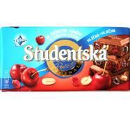 Шоколад Studentska молочный с вишней, арахисом и кусочками мармелада Чехия 180 гр