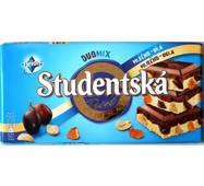 Шоколад Studentska молочно-белый DuoMix с арахисом и изюмом, кусочками желе Чехия 180 гр