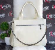 Кожаная женская сумка двухсторонняя цвет молоко.
