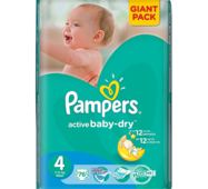 Подгузники Pampers Active Baby-Dry 4 (7-14кг) 76шт