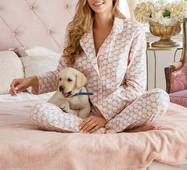 Теплая женская пижама (розово-зеленый)