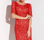 Роскошное гипюровое платье (красно- бежевый)