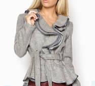 Кашемировый пиджак воланами (светло-серый)