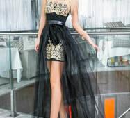 Платье с вышивкой золотыми нитями (черный, вышивка - золотистый)