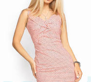 Облегающее хлопковое платье (персиково- черный)