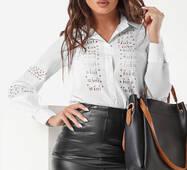 Женская блуза перфорация (белый)