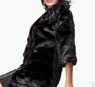 Элегантная удлиненная шуба под норку (черный)