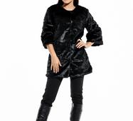 Женская черная шуба из искусственного меха Нора