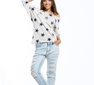 Женская футболка Звезды белый принт