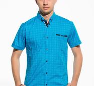 Мужская рубашка короткий рукав Имей голубой