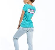Женская футболка FASHION минтол принт
