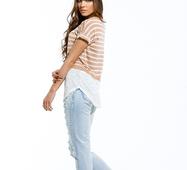 Женская футболка Кэндис бежевый принт полоска