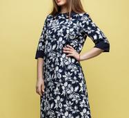 Женское платье большого размера Адриа темный синий принт